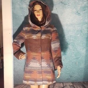 Coffee Shop Navajo hooded Wrap Coat, sz L